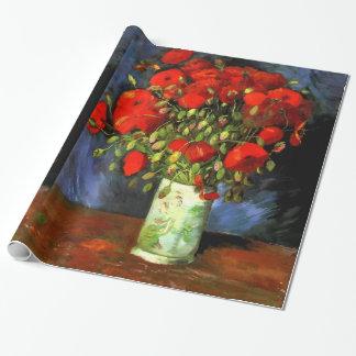 Vincent Van Gogh vas med röd vallmoblommigtkonst Presentpapper