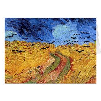 Vincent Van Gogh - vetefält med svart kråkor Hälsningskort