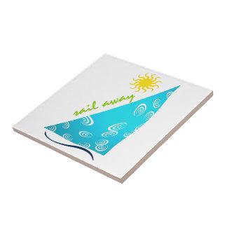 Vind seglar och solen kakelplatta