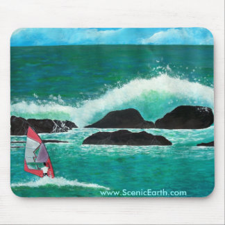 Vindsurfa i målning för Hawaii havMousepad konst Musmatta