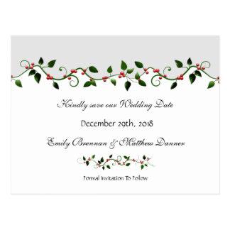 Vine för bär för helgdagbröllop spara datum röd vykort