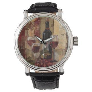 Vinflaska och vinexponeringsglas armbandsur