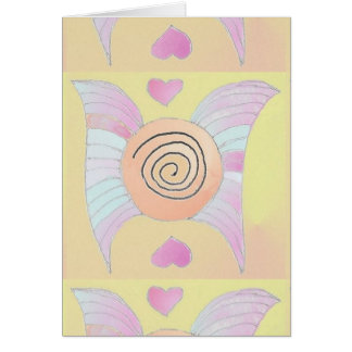 Vingar 1 abstrakt konstkortlilor/guld 2 hälsningskort