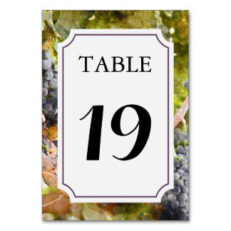 Vingård- eller vinodlingbordsnummerkort bordsnummer