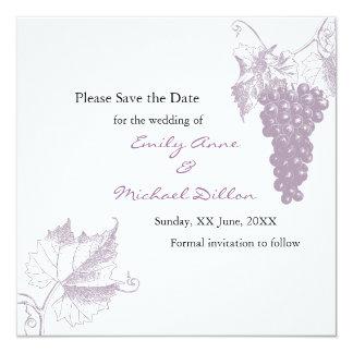 Vingårdbröllop spara datum fyrkantigt 13,3 cm inbjudningskort