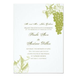 Vingårdbröllopinbjudan i grönt 12,7 x 17,8 cm inbjudningskort