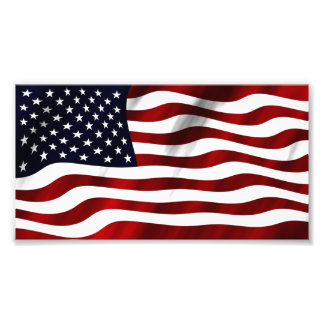 Vinka amerikanska flaggan fototryck