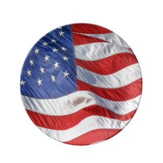 Vinka den patriotiska amerikanska flaggan porslinstallrik