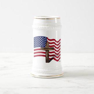 Vinka för amerikanska flaggan och kraftfullkor sejdel