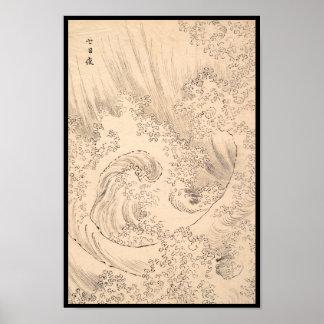 Vinka konst för Katsushika Hokusai vintagewatersca Poster