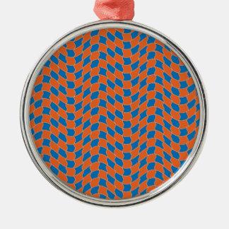 Vinka mönster i blått och orange julgransprydnad metall
