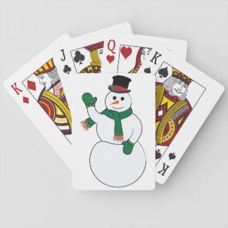 Vinka snögubben som leker kort kortlek