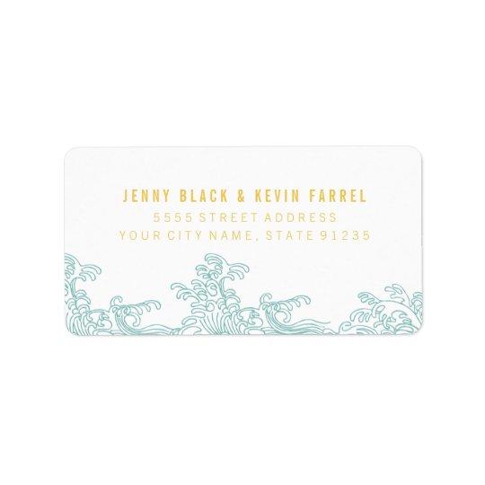 Vinkar adressetiketter för hav - blått & guld
