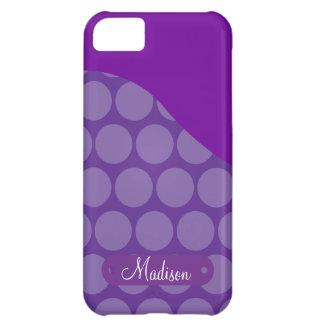 Vinkar den purpurfärgade polka dots för iPhone 5C fodral