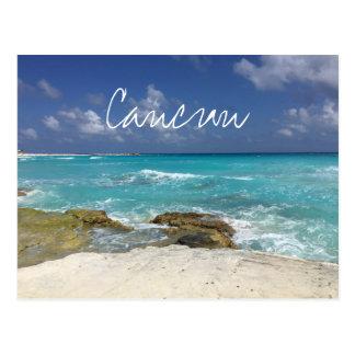 Vinkar det steniga hav för den Cancun Mexico Vykort