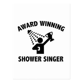 Vinnande duschsångare för utmärkelse vykort