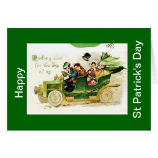 Vintaeg bil, lyckligt st patricks daykort hälsningskort