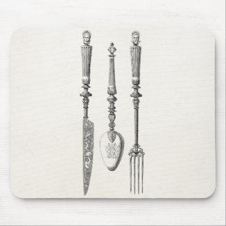 Vintage1800sknivar dela sig gammalt bestick för musmatta
