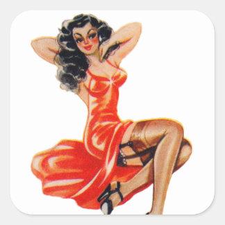 Vintage50-tal klämmer fast upp Veronica för Fyrkantigt Klistermärke