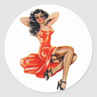 Vintage50-tal klämmer fast upp Veronica för Runt Klistermärke