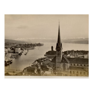 Vintage, 1890, Zurich och sjö Zurich Vykort