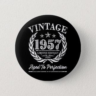 Vintage 1957 - det 60th födelsedagordstävet standard knapp rund 5.7 cm
