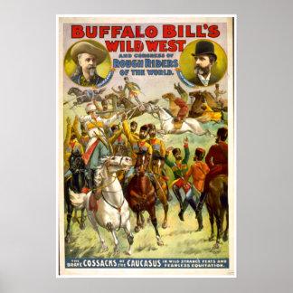 VINTAGE AFFISCH för buffelräkningvilda western
