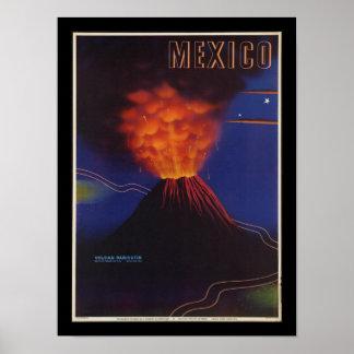 Vintage affisch för Mexico vulkanart déco