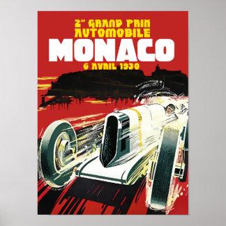 Vintage affisch Monaco för tävlings- bilar