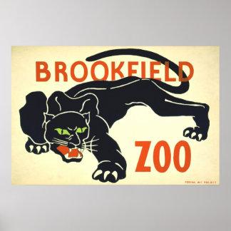 Vintage affisch panter WPA för Brookfield Zoosvart Poster