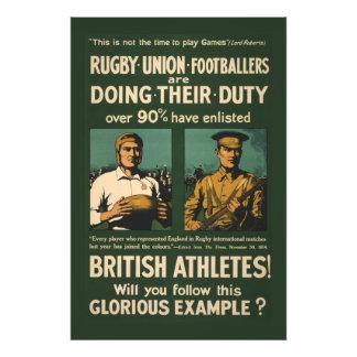 Vintage affisch: Rugbyspelareappell för Fototryck