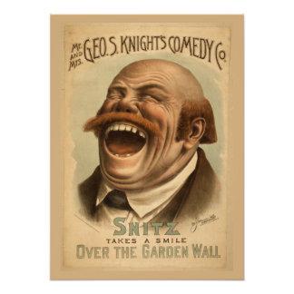 Vintage affisch: Snitz över den trädgårds- väggen Fototryck