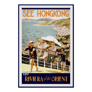 Vintage affischtryck Hong Kong Riviera Orient Poster