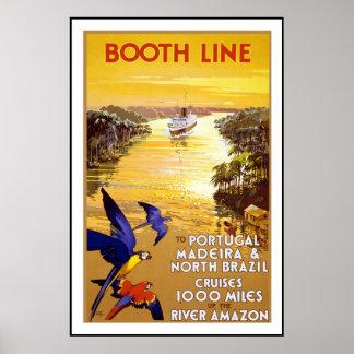 Vintage affischtryck Portugal Brasilien Amazon Riv Poster