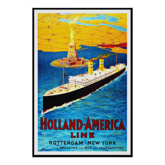 Vintage affischtryck Rotterdam Holland Amercia Poster