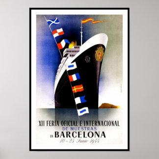 Vintage affischtryckBarcelona Spanien frakt Poster