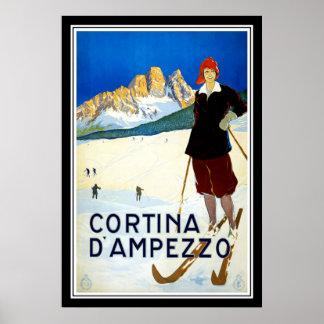 Vintage affischtryckCortina d'Ampezzo italien Poster