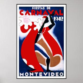 Vintage affischtryckMontevideo Uruguay Fiestas Poster
