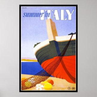 Vintage affischtrycksommar i italien poster