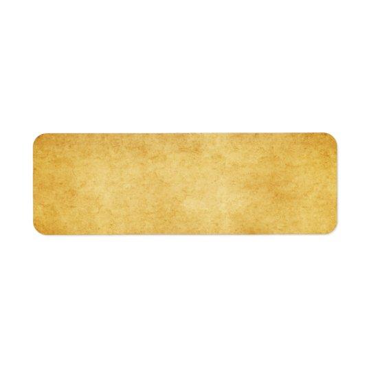 Vintage åldras tom Parchmentpappersmall Returadress Etikett