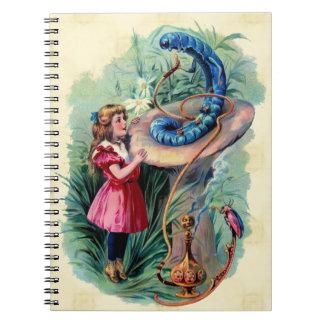 Vintage Alice i underlandanteckningsbok Anteckningsbok
