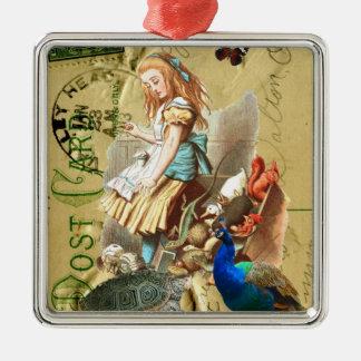 Vintage Alice i underlandcollage Julgransprydnad Metall