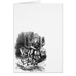 Vintage Alice i underlandhjort lismar bambitrycket Hälsningskort