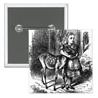 Vintage Alice i underlandhjort lismar bambitrycket Standard Kanpp Fyrkantig 5.1 Cm