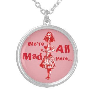 Vintage Alice som sträcks i underland Silverpläterat Halsband