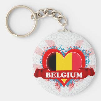 Vintage älskar jag Belgien Rund Nyckelring