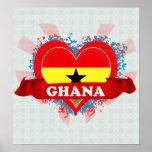 Vintage älskar jag Ghana Poster