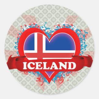 Vintage älskar jag island runt klistermärke