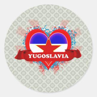 Vintage älskar jag Jugoslavien Runt Klistermärke