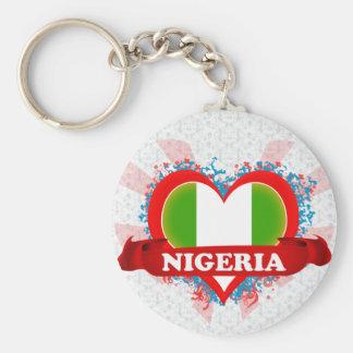 Vintage älskar jag Nigeria Rund Nyckelring